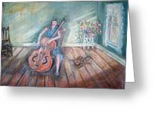 Women With Cello Greeting Card