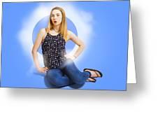 Womens Fashion Pinup Model On Blue Studio Lights Greeting Card