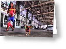 Wonder Girl And Super Pup Greeting Card
