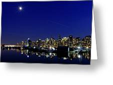 Wonderful Autumn Night In Port Vancouver Greeting Card