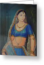 Wonderful Portrait A Lonely Queen Is Waiting For Her Husband To Return From Battle Oil Painting  Greeting Card