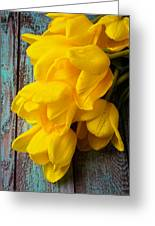 Wonderful Yellow Tulips With Dew Greeting Card