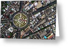 Wongwian Yai Roundabout Surrounded By Buildings, Bangkok Greeting Card by Pradeep Raja PRINTS