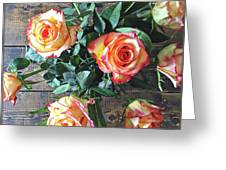Wood And Roses Greeting Card