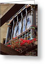 Wood Beams Red Flowers And Blue Window Greeting Card