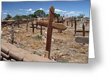 Wood Crosses In Taos Cemetery Greeting Card