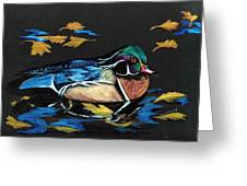 Wood Duck And Fall Leaves Greeting Card