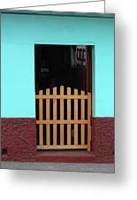 Wood Gate In A Door Greeting Card