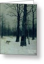 Wood In Winter Greeting Card by Isaak Ilyic Levitan