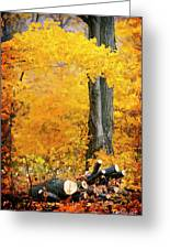 Wood Pile In Autumn Greeting Card