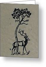 Woodcut Deer Greeting Card