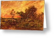Wooded Landscape With A Faggot Gatherer Greeting Card