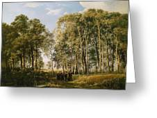 Wooded Landscape With A Group Of Figures In Costume Greeting Card