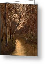 Wooded Landscape With Angler On The Riverside Greeting Card