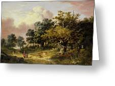Wooded Landscape With Woman And Child Walking Down A Road  Greeting Card