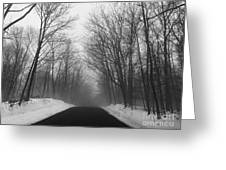 Wooded Winter Road Greeting Card