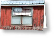 Wooden American Flag On Red Barn Greeting Card