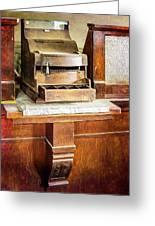 Wooden Bank Cash Register Greeting Card