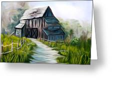 Wooden Barn Dreamy Mirage Greeting Card