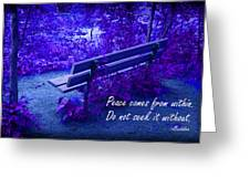 Wooden Bench With Inspirational Text Greeting Card