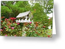 Wooden Bird House On A Pole 3 Greeting Card