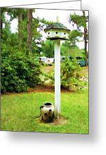 Wooden Bird House On A Pole 6 Greeting Card