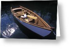 Wooden Boat And Paddles In Halibut Cove Greeting Card