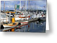 Wooden Boats On The Water Greeting Card