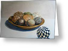 Wooden Bowl With Spheres Greeting Card