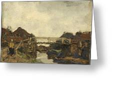 Wooden Bridge Across A Canal At Rijswijk Greeting Card