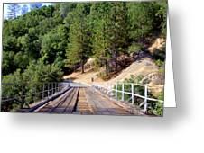 Wooden Bridge Over Deep Gorge Greeting Card