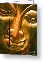 Wooden Buddha Face Greeting Card