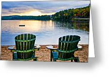 Wooden Chairs At Sunset On Beach Greeting Card