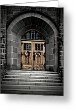 Wooden Church Door In Stone Archway Greeting Card