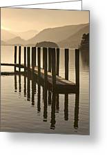 Wooden Dock In The Lake At Sunset Greeting Card