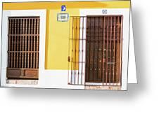 Wooden Doors In Old San Juan, Puerto Rico Greeting Card