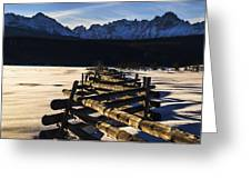Wooden Fence And Sawtooth Mountain Range Greeting Card