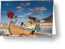 Wooden Fishing Boat On Shore Greeting Card