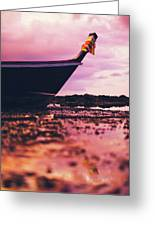 Wooden Fishing Thai Boat Sunken On The Rocky Beach During Tide Greeting Card