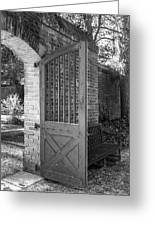 Wooden Garden Door B W Greeting Card