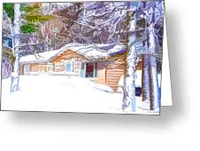 Wooden House In Winter Forest Greeting Card