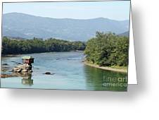 wooden house on rock Drina river Serbia Greeting Card