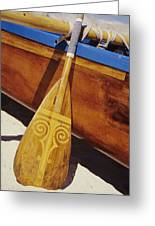 Wooden Paddle And Canoe Greeting Card