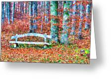 Wooden Park Bench In Dry Leaves  Greeting Card