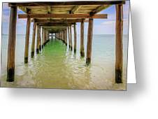Wooden Pier Stretching Into The Sea Greeting Card