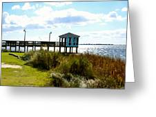 Wooden Pier With Pavilion Greeting Card