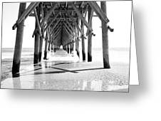 Wooden Post Under A Pier On The Beach Greeting Card