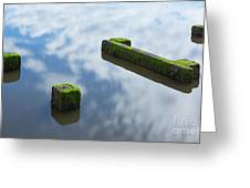 Wooden Posts At Low Tide Greeting Card
