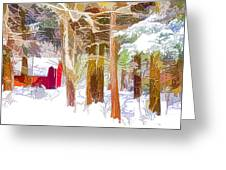 Wooden Shed In Winter Greeting Card