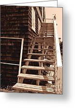 Wooden Stairs In Sepia Greeting Card